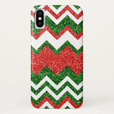 Retro Chic Red Green Zigzag Chevron Stripe Pattern iPhone X Case - tap, personalize, buy right now!