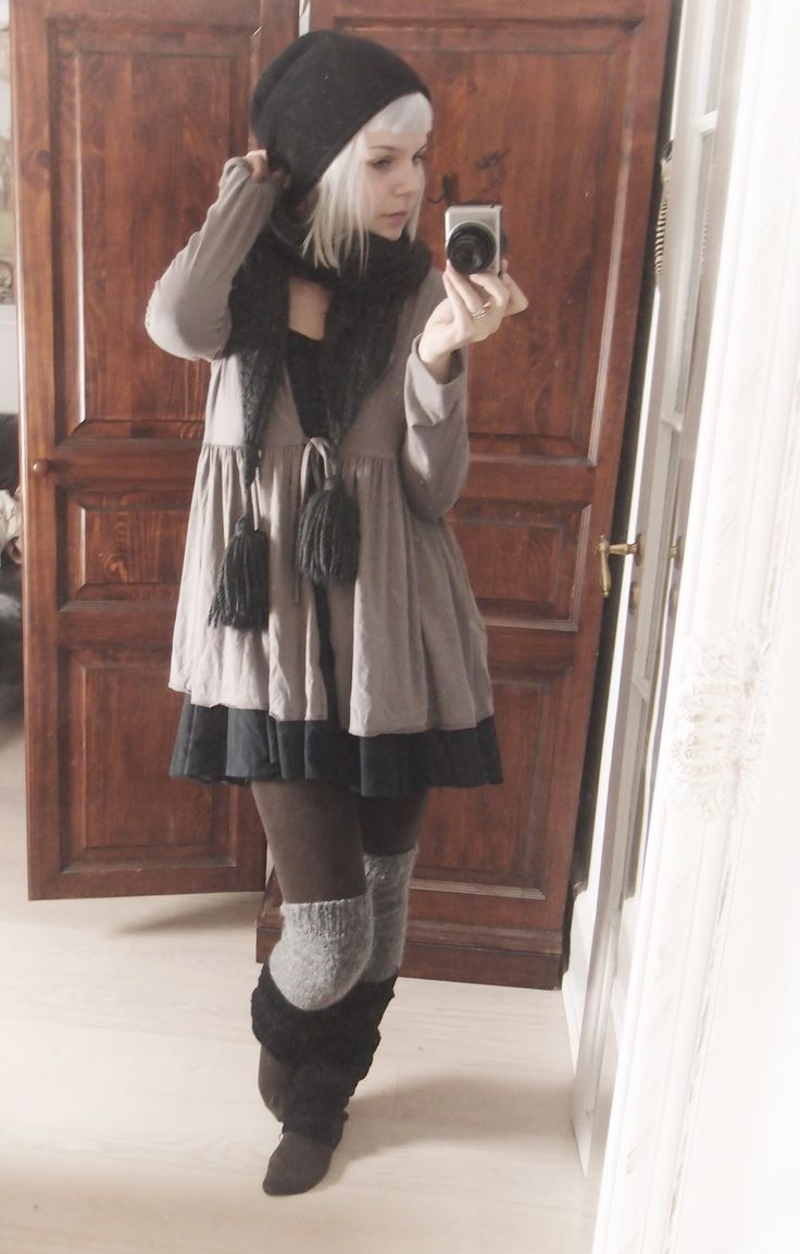 grey over dress layers + scarf with tassles + layered legs leg warmers + hat | fall winter style