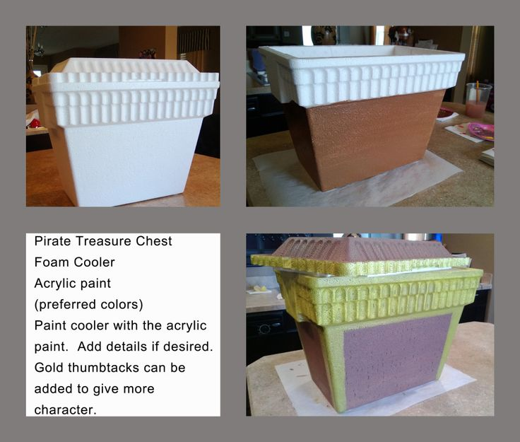 Styrofoam cooler turned into treasure chest (to hold goody bags).
