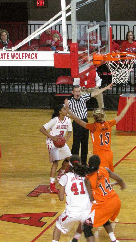 La'nique Brown inbounds the ball