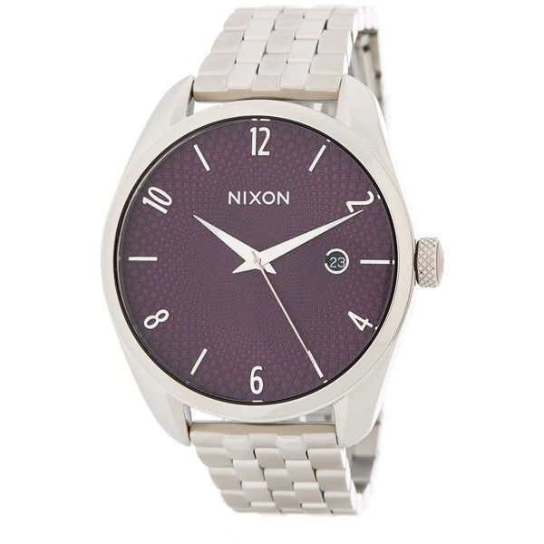 Nixon Women's Bullet Stainless Steel Watch ($100) ❤ liked on Polyvore featuring jewelry, watches, plum, stainless steel wrist watch, bullet jewelry, stainless steel watches, dial watches and water resistant watches