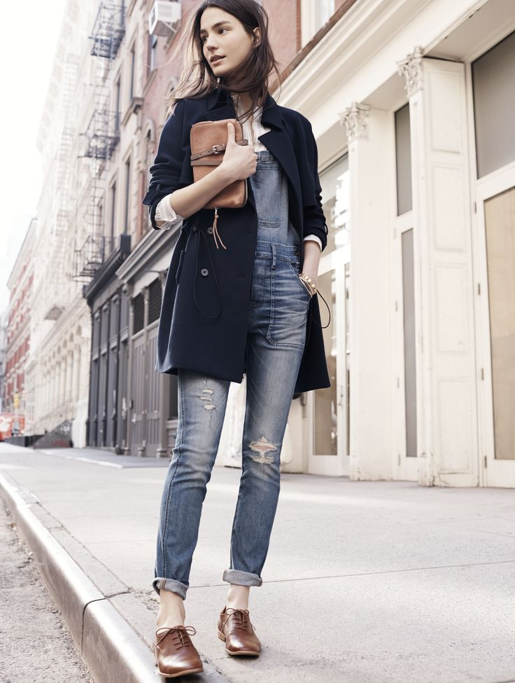 Madewell skinny overalls worn with the Travel trench coat, Clare oxford +  twin-pouch. Brown Oxfords OutfitOxford Shoes ...