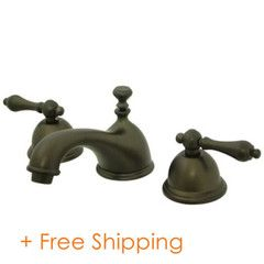 """Kingston Brass Two Handle 8"""" to 16"""" Widespread Lavatory Faucet with Brass Pop-up Oil Rubbed Bronze KS3965AL"""