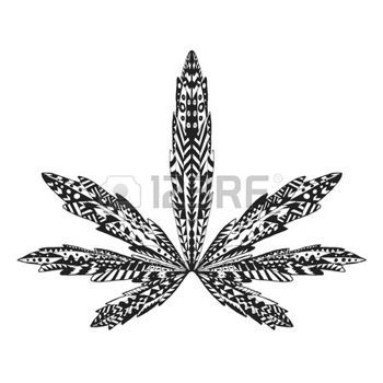 dessin tribal: stylisé feuille de marijuana. Isolé main tiré doodle. Ethnique illustration de vecteur motif de cannabis. Africaine, indien, totem, conception de tatouage. Esquisse pour tatouage, affiches, estampes ou t-shirt. Illustration