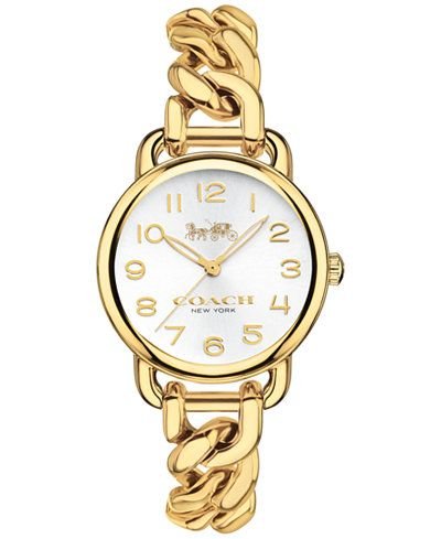 COACH Women's Delancey Gold-Tone Stainless Steel Chain Link Bracelet Watch 28mm