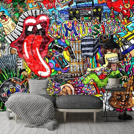 Removable Wallpaper Mural Peel Stick Self Adhesive Wallpaper Music Collage On A Large Brick Wall Graffiti In 2020 Mural Wallpaper Mural Graffiti Wall
