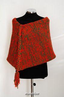 Easy: Poncho in misto lana tessuto con telaio manuale