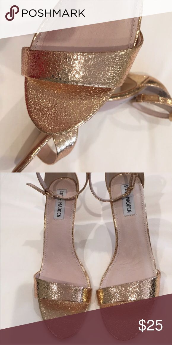 "Steve Madden Rose gold strap heels. 8.5. Silly Super comfy. Worn once to a wedding. 3 inch heel. ""Silly"" is the name of this Steve Madden heel. It's hard to find in rose gold! Ankle strap heel. Steve Madden Shoes Heels"