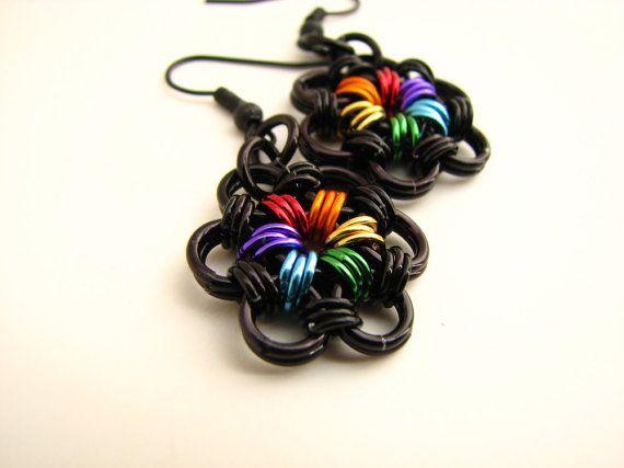 True Colors Rainbow Pride Flower Chainmaille Earrings on Etsy, £9.21