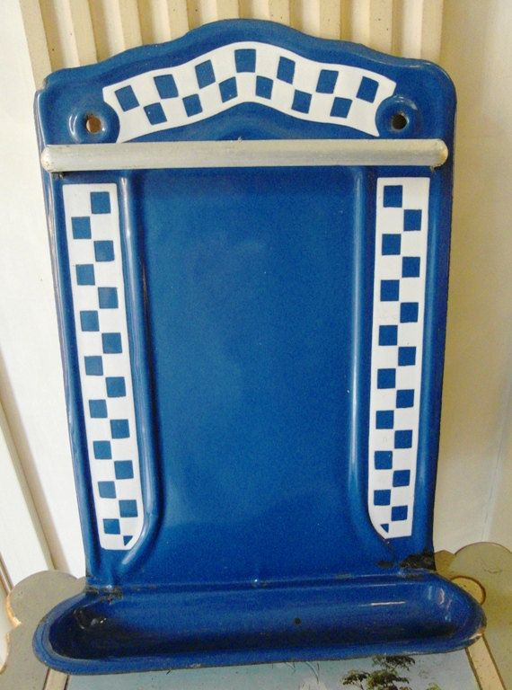 Lovely Antique French enameled UTENSIL RACK by villavillacolle