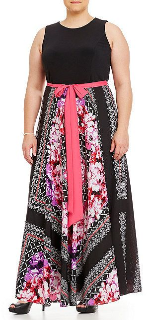 Plus Size Scarf-Print Maxi Dress (without the bow/ribbon)