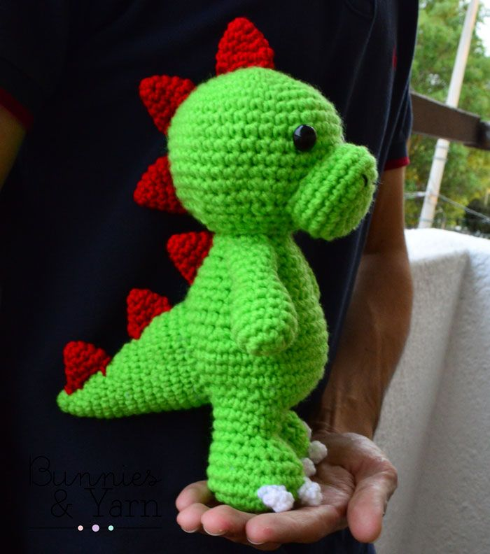 CROCHET PATTERN - Tim the Friendly Dinosaur - 10 in. tall