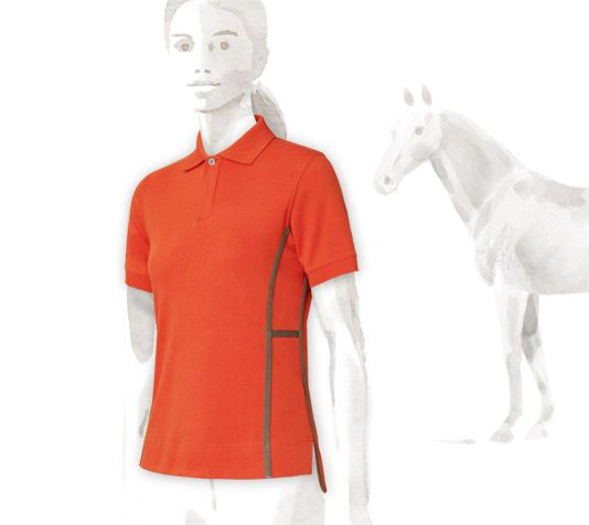"""Windsor Hermes women's short sleeve polo in fire red and khaki. Tailored fit, soft, strong and breathable fabric, two-tone with """"H"""" design on the sides. (100% cotton), $560"""