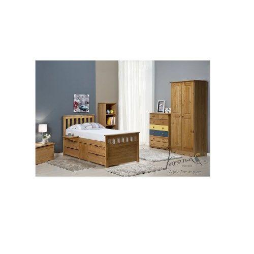 Verona Design Ferrara Captain's Single Storage Bed with 4 Drawers in Antique Pine