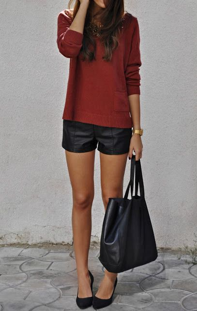 leather shorts & sweater