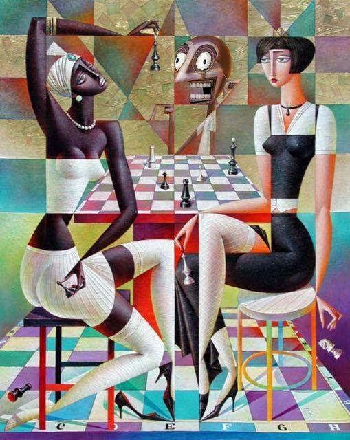 """Ironie ist wie Schach. Es gibt diejenigen, die nur schwarz und weiß sehen und diejenigen, die das Spiel verstehen. - ChiNonMuore1, Twitter .. L'ironia è come gli scacchi. C'è chi vede solo il bianco e nero e chi capisce il gioco. - ChiNonMuore1, Twitter - Bild: """"Chess' players"""" by Georgy Kurasov, Russischer Maler http://kurasov.com/ ~ gesehen bei:  Matilde's House https://www.facebook.com/MatildesHouse/"""