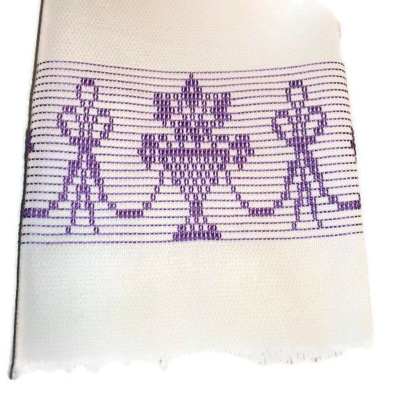 Kitchen Towel Swedish Weaving Huck Purple Basket by CanDoStitching, $13.75