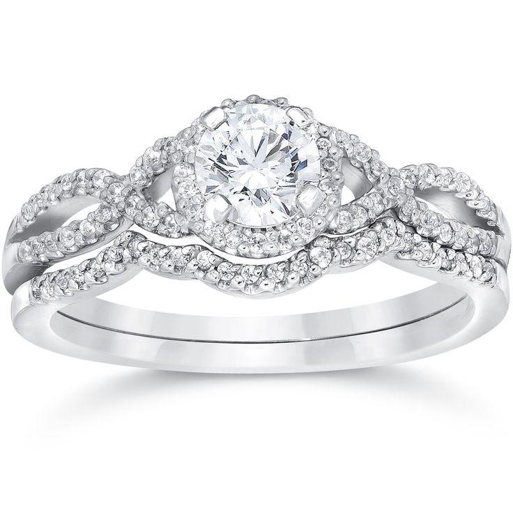14k White Gold 3/4ct TDW Diamond Infinity Halo Engagement