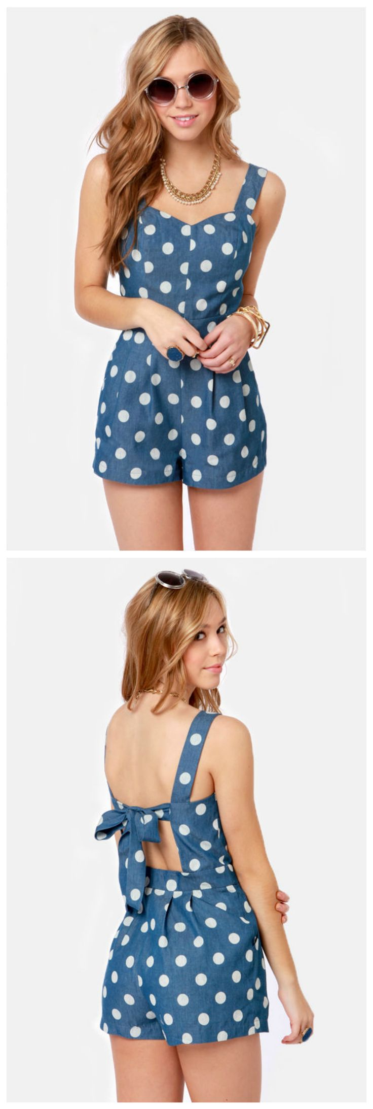 i can literally wear this anywhere... to the beach or to downtown! next stop beach on my ultimate dream road trip! #lulus #lulusrocktheroad #lulusrocktheroad Dot of the Bay Blue Polka Dot Romper via lulus.com