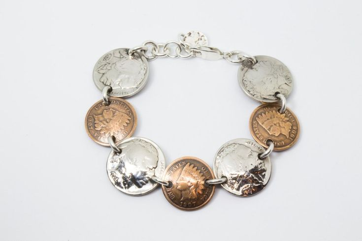 Bracelet Handmade from Vintage Buffalo Nickels and Indian Head Pennies (All Heads) with Solid Sterling Silver Findings