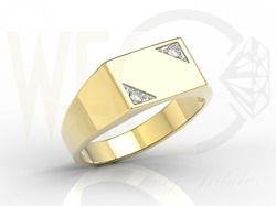 Sygnet z żółtego złota z diamentami/ Signet ring made from yellow gold with diamonds/ 2 305 PLN #jeweller #mansjewelry #diamonds #gold #signet_irng #man