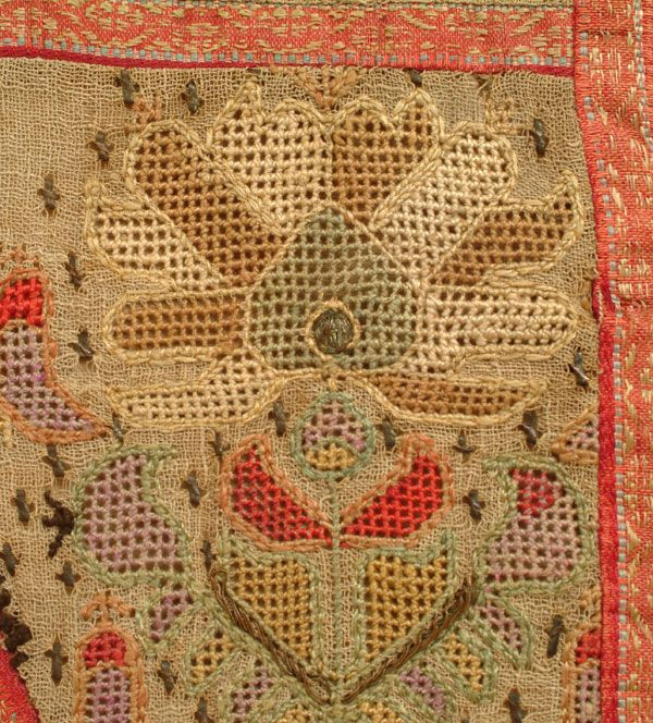 Prayer Arch Composite, Late-Ottoman, end of the 19th c. This is 'two-sided embroidery' (front and rear are identical), partly executed in 'drawn thread work' (the foundation fabric is deformed to create holes that are then embellished with embroidery).