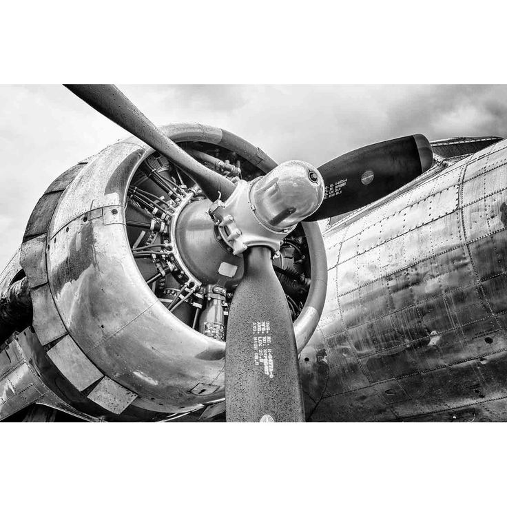 """""""B-17 Flying Fortress engine in & white"""" by Glenn Martin, Canvas Giclee Wall Art Print"""