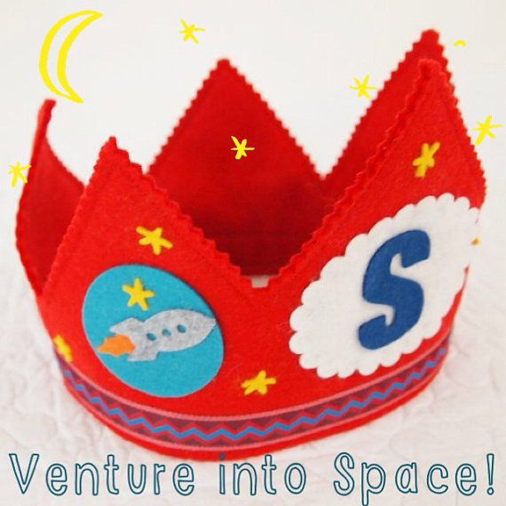 rocket birthday party - red felt birthday crown - outer space party on Etsy, $32.00