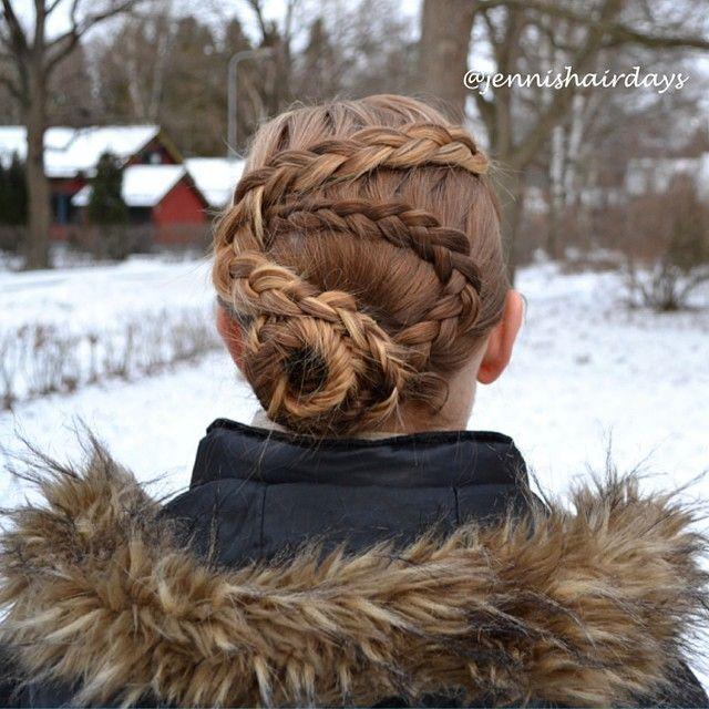 Some dutch lace braids into a fishtail bun by Jenni's Hairdays Puolihollantilaiset letit ja kalanruotonuttura