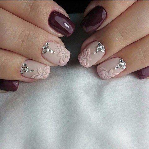 Beige gel polish, Dimension nails, Evening dress nails, Evening nails, Fashion nails 2016, Luxury nails, Maroon nails, Matte nails