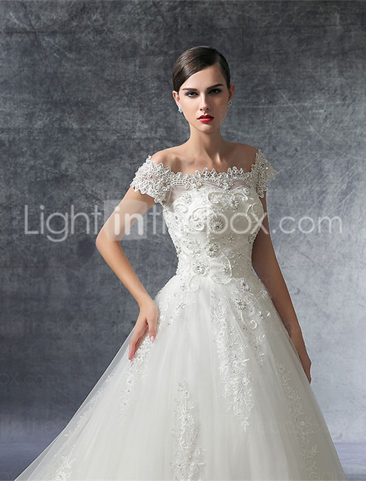 A-line Wedding Dress Cathedral Train Off-the-shoulder Satin / Tulle with Beading / Crystal / Ruffle / Appliques 5071356 2017 – $179.99