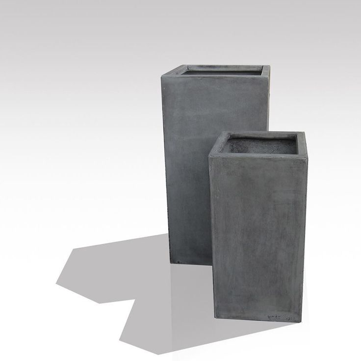 """Tall Square Concrete Planters #grc #gfrc #landscapedesign #planters #contemporaryconcrete  #gardendesign  #gardendesign"""