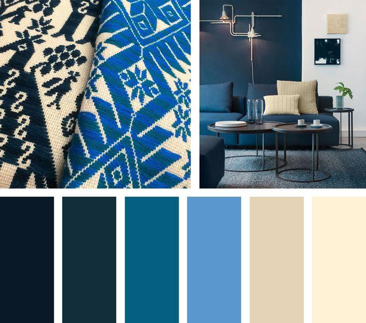 Con tradición y diseño, una paleta de colores en azules que enmarcan un contexto moderno mexicano.  Espacio Vía: aprilandmay.com