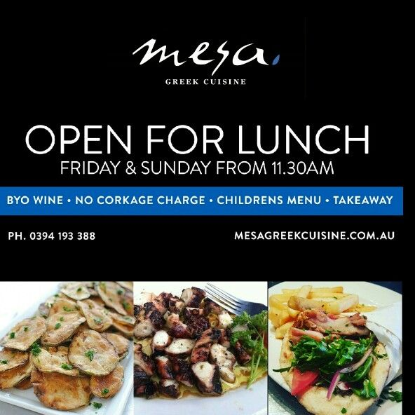 Mesa Greek Cuisine open for Friday and Sunday lunches.  Takeaway or Dine in  Mesa Greek Cuisine  Ph: 0394193388  To book a table follow this link: http://m.mesagreekcuisine.com.au/OnlineBooking  #livingsocial #melbournelife #melbourneeats #greekfoodmelbourne #mesagreekcuisine #melbournefoodie #melbourne #melbournedining #greekrestaurantmelbourne #greekcuisinemelbourne #melbournerestaurants #ilovemelbourne #typsygypsy