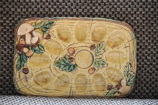 vintage mushroom deviled egg plate - rare