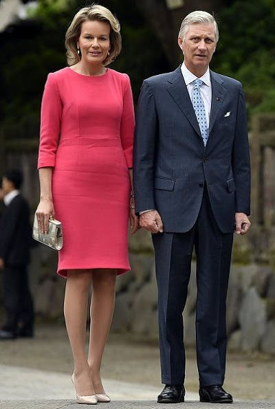 Queen Mathilde and King Philippe of Belgium visited the Nezu Shrine on the first day of a state visit to Japan of the Belgian Royals on Monday 10 October 2016, in Tokyo, Japan. Nezu Shrine in Tokyo's Bunkyo ward near Ueno Park is one of Japan's oldest shrines. The Shinto shrine was established in 1705.