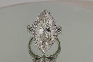 Josh Levkoff - Collection, Rings - 652) Marquise Cut Diamond Ring with Split Shank & MicroPave Set Diamonds & Unique Design
