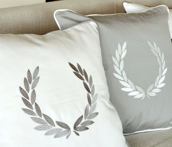 GREEK WREATH embroidered pillow covers Grey by letsdecorateonline, $35.40