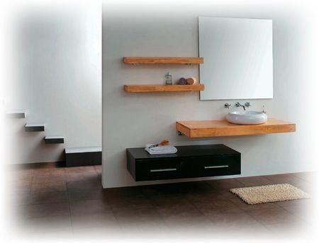 "Kube Lumi 48"" Modern Wall Mount Bathroom Vanity Set - Light Oak and Black Walnut"