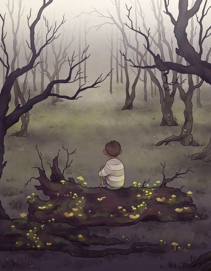 A boy lost in a forest An illustration for an anthology of fairytales written by students of our school