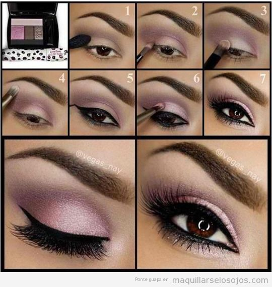Tutorial maquillaje ojos sombra color lila para ojos marrones 2