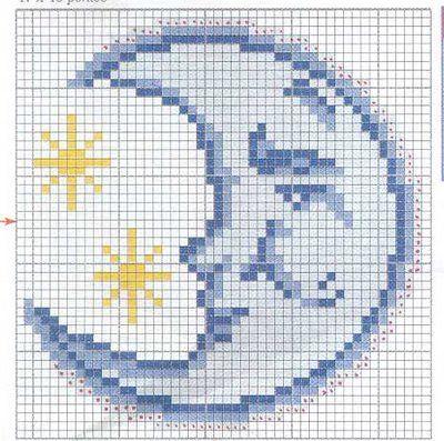 lune - sun - point de croix - cross stitch - Blog : http://broderiemimie44.canalblog.com/                                                                                                                                                                                 Más