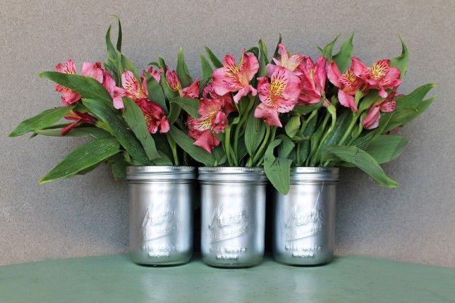 METALLIC VASES -- - mason jars, spray paint, painter's tape, large ziploc bags