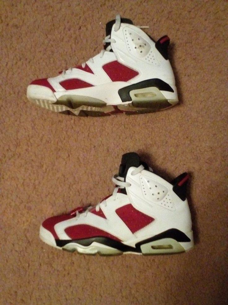 Nike Air Jordan Retro VI 6 White Red Black Carmine Size 9 #Nike #BasketballShoes