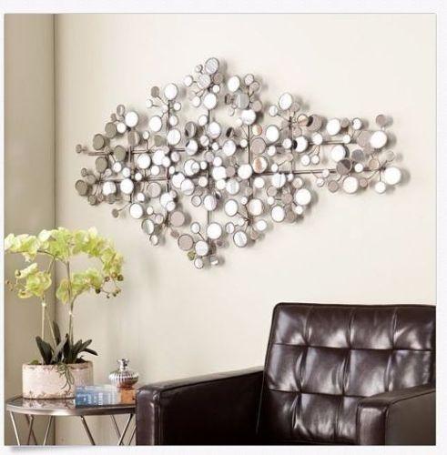 Wall Mirror Sculpture Metal Mirrored Modern Accent Geometric 3d Decorative  Art Part 54