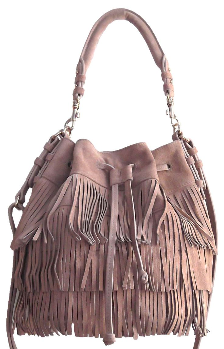 Cream Colour Suede Tote Bag with Tassel