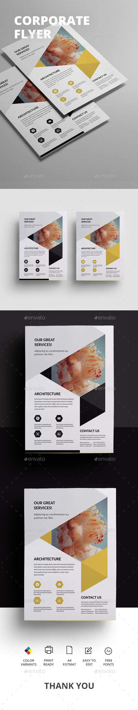 Corporate Flyer Design Template - Corporate Flyers Design Template PSD. Download here: https://graphicriver.net/item/corporate-flyer/19172485?ref=yinkira