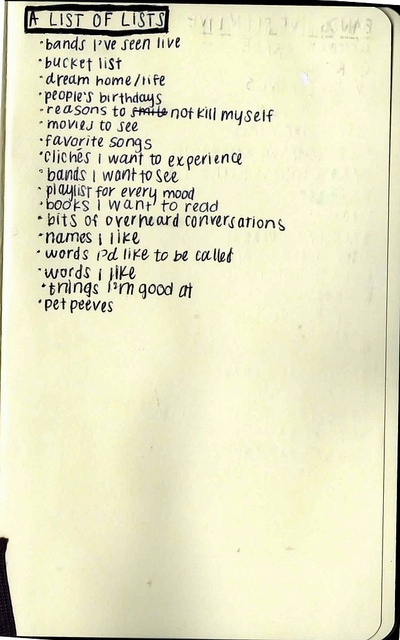 My list of lists would change a little but I like the idea and it gets me started.