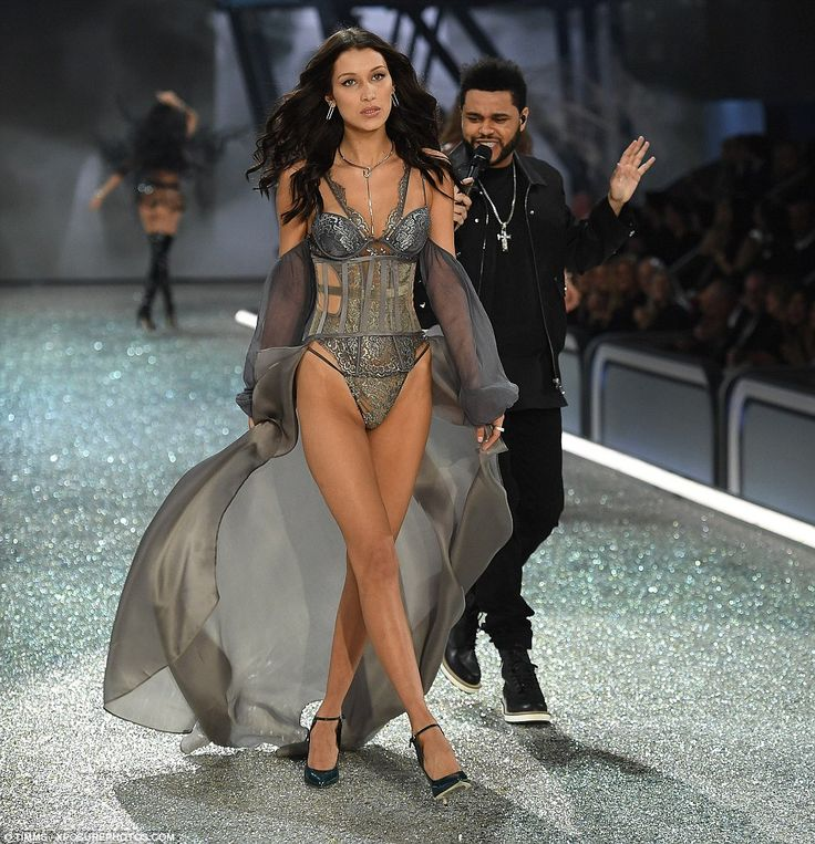 I Can't Peel My Face away! The Weeknd was caught checking out his ex-girlfriend Bella Hadid's bottom as she walked by him during his performance at the Victoria's Secret Fashion Show, held at Paris' Grand Palais on Wednesday night