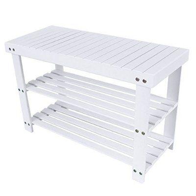 Songmics Sitzbank und Schuhregal Schuhablage Regal Bambus Sitzbank Schuhbank Weiß 70 x 28 x 45cm LBS04B